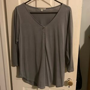Gray Top, W/ Zipper